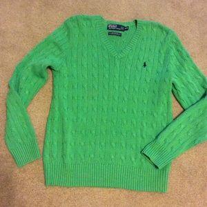 Ralph Lauren Polo 100% Silk  Green Sweater Sz M